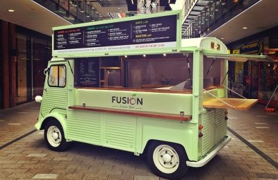 A green HY van conversion for Fusion Juice bar