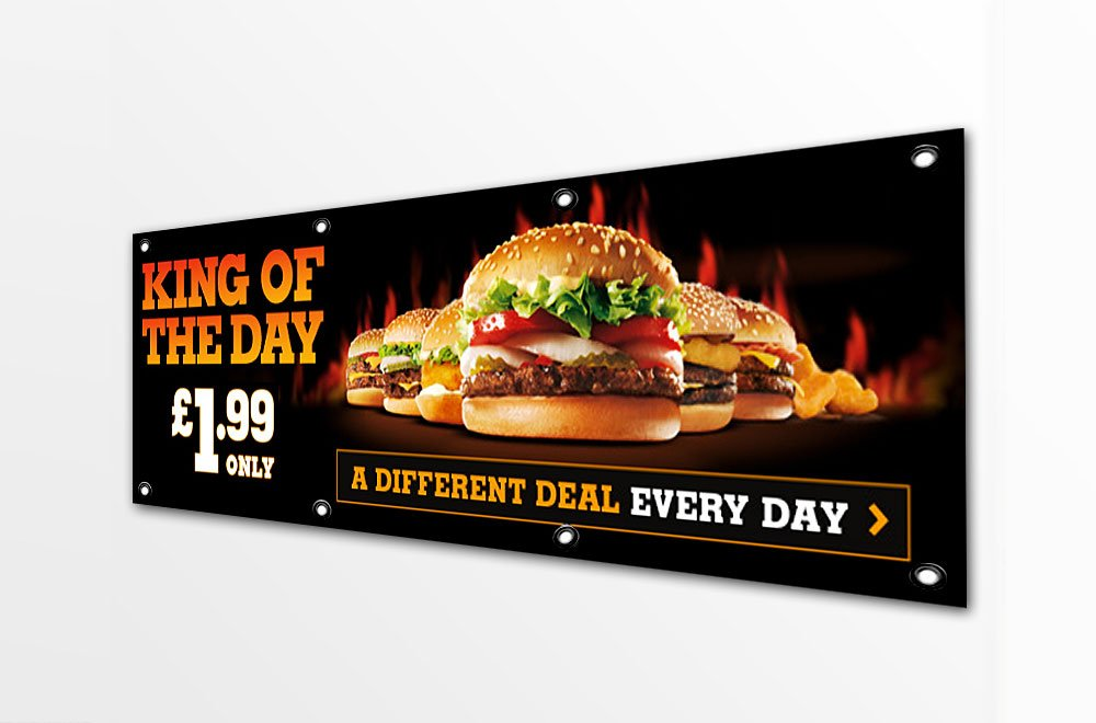 wide format printed banner with burger images and text