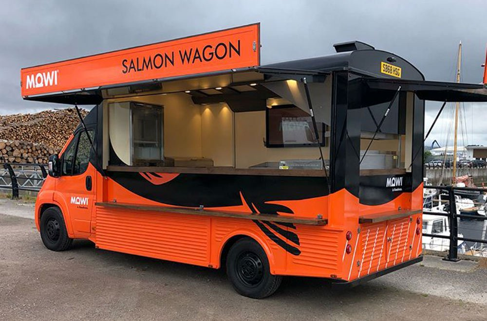custom van conversion for MOWI scotland salmon wagon catering truck
