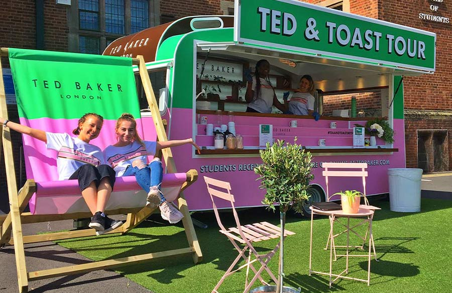 Promotional Marketing Campaign with Branded Vintage Caravan Wrap for Ted Baker Tea & Toast Tour