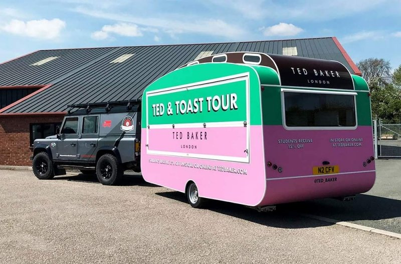 ted baker caravan conversion on the back of the transport vehicle