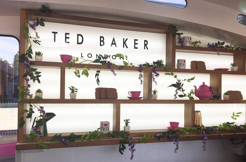 interior back wall of the ted baker caravan conversion