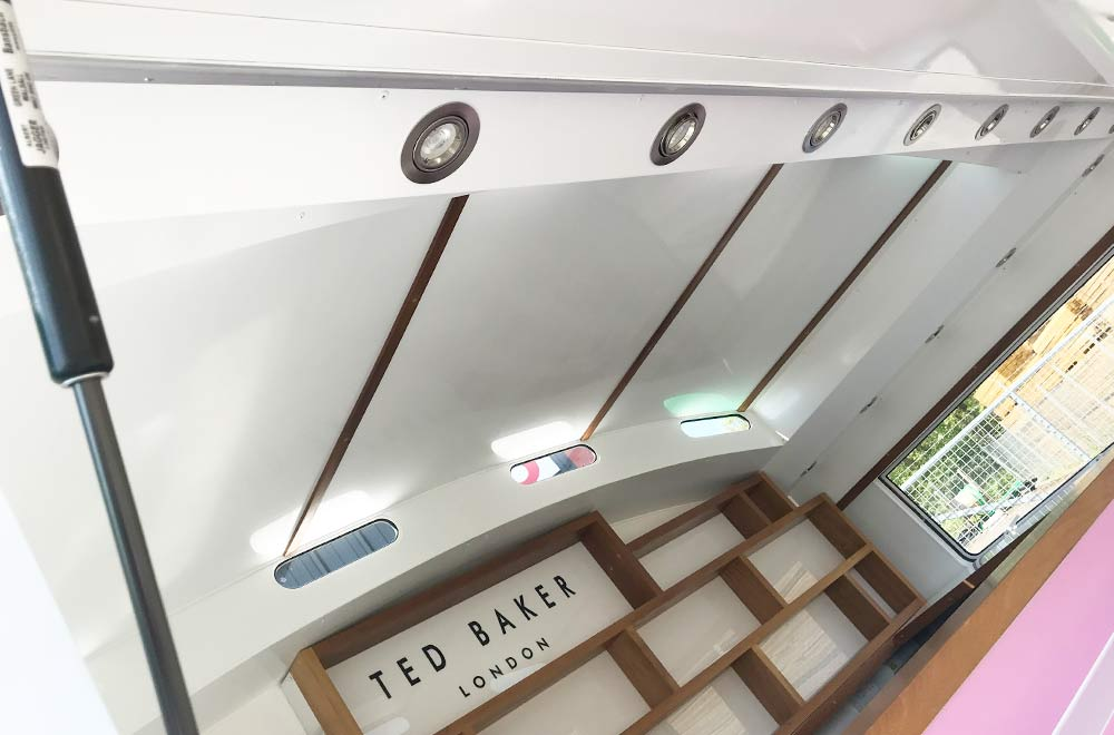 interior of the ted baker vintage style caravan conversion for experiential marketing campaign