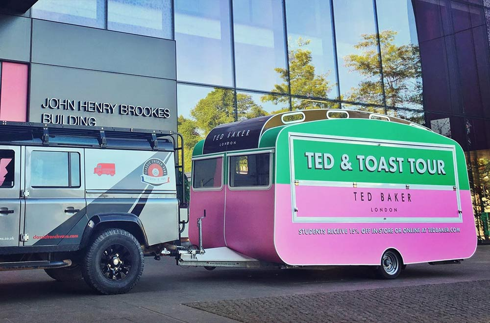 ted baker caravan conversion in situ on the back of transport vehicle