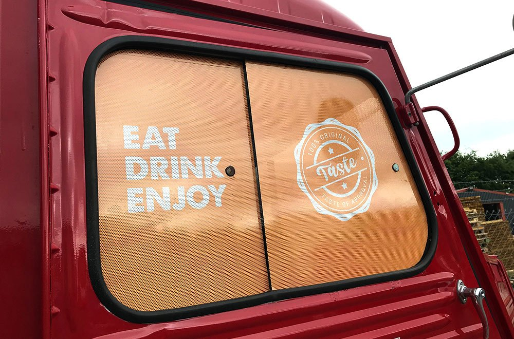Branded hy van window graphics for street food catering truck