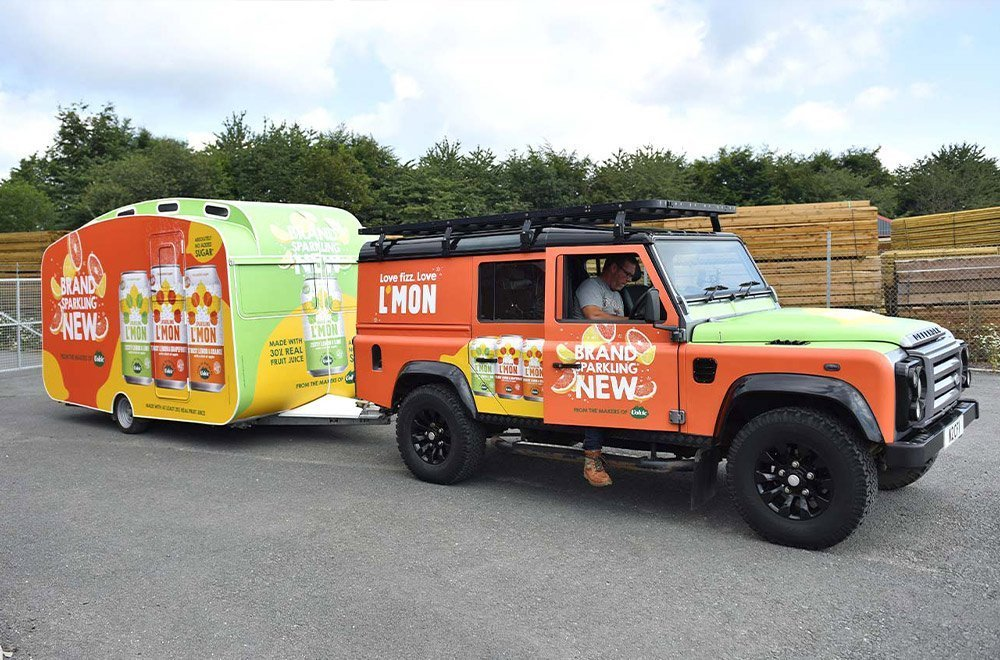 Lmon Volvic Marketing Tour with Branded Caravan & Support Vehicle by Classic French Vans