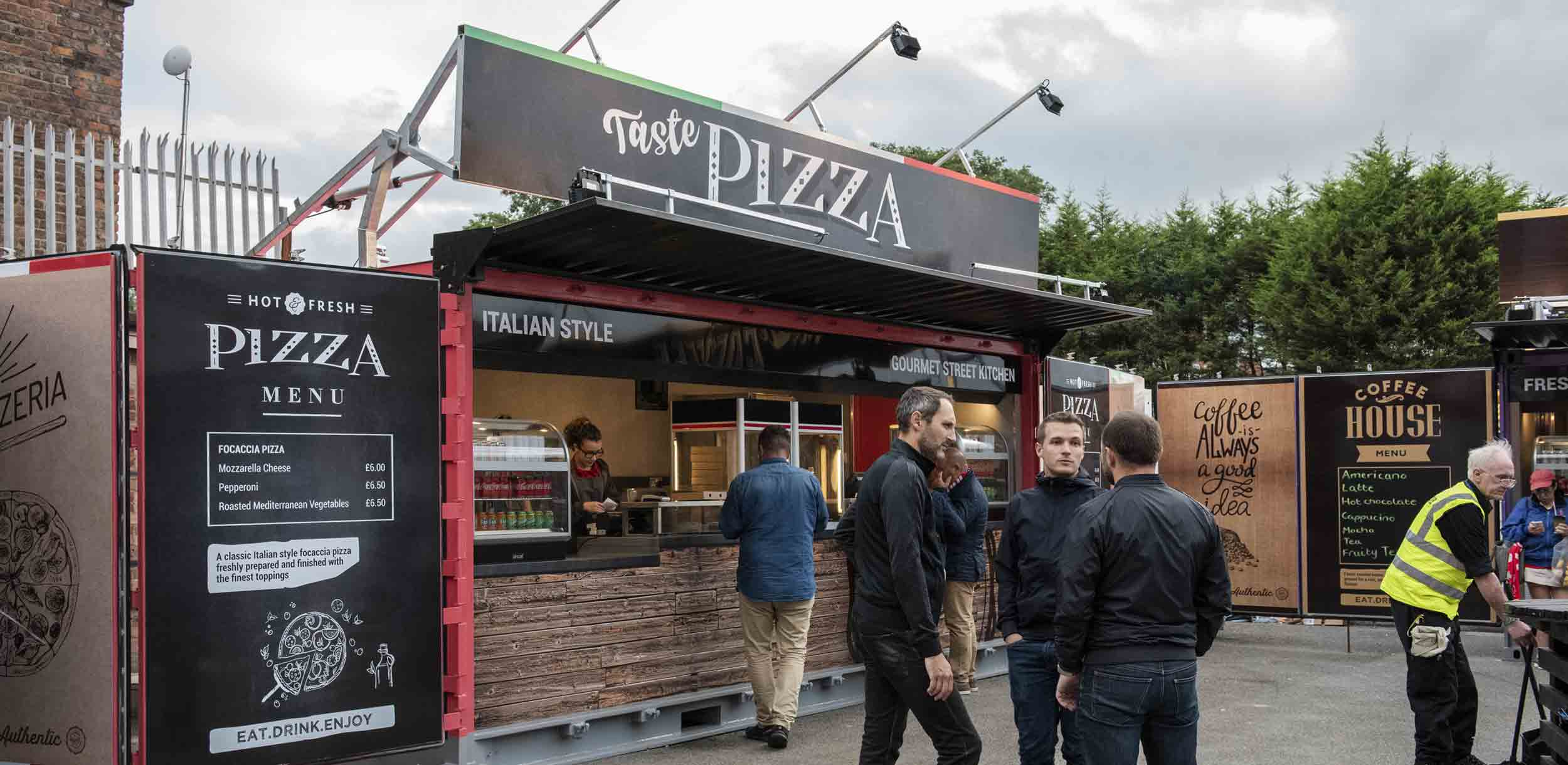 Branded Shipping Container Catering Kiosks for Liverpool FC Anfield Pizza Food Kiosk
